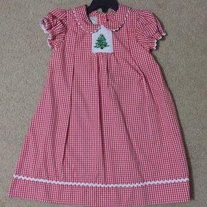 Girls 4T Christmas Tree Smocked Dress